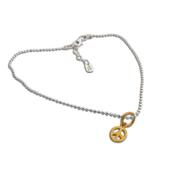 Gold plated Peace Charm on Sterling Silver Anklet 9 to 10 inches adjustable