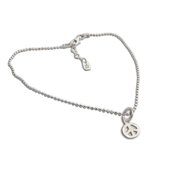 Peace Charm Anklet Sterling Silver 9 to 10 inches adjustable