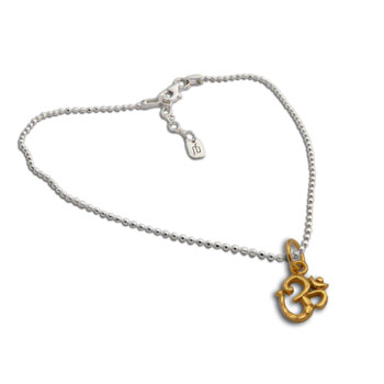Gold Plated Om Charm on Necklace Sterling Silver 16 to 17 inches adjustable