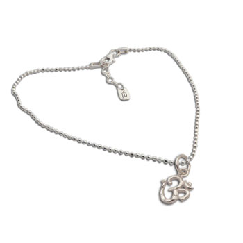 Om Charm Necklace Sterling Silver 16 to 17 inches adjustable