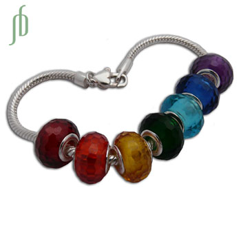 Faceted Chakra Bead Bracelet Sterling Silver