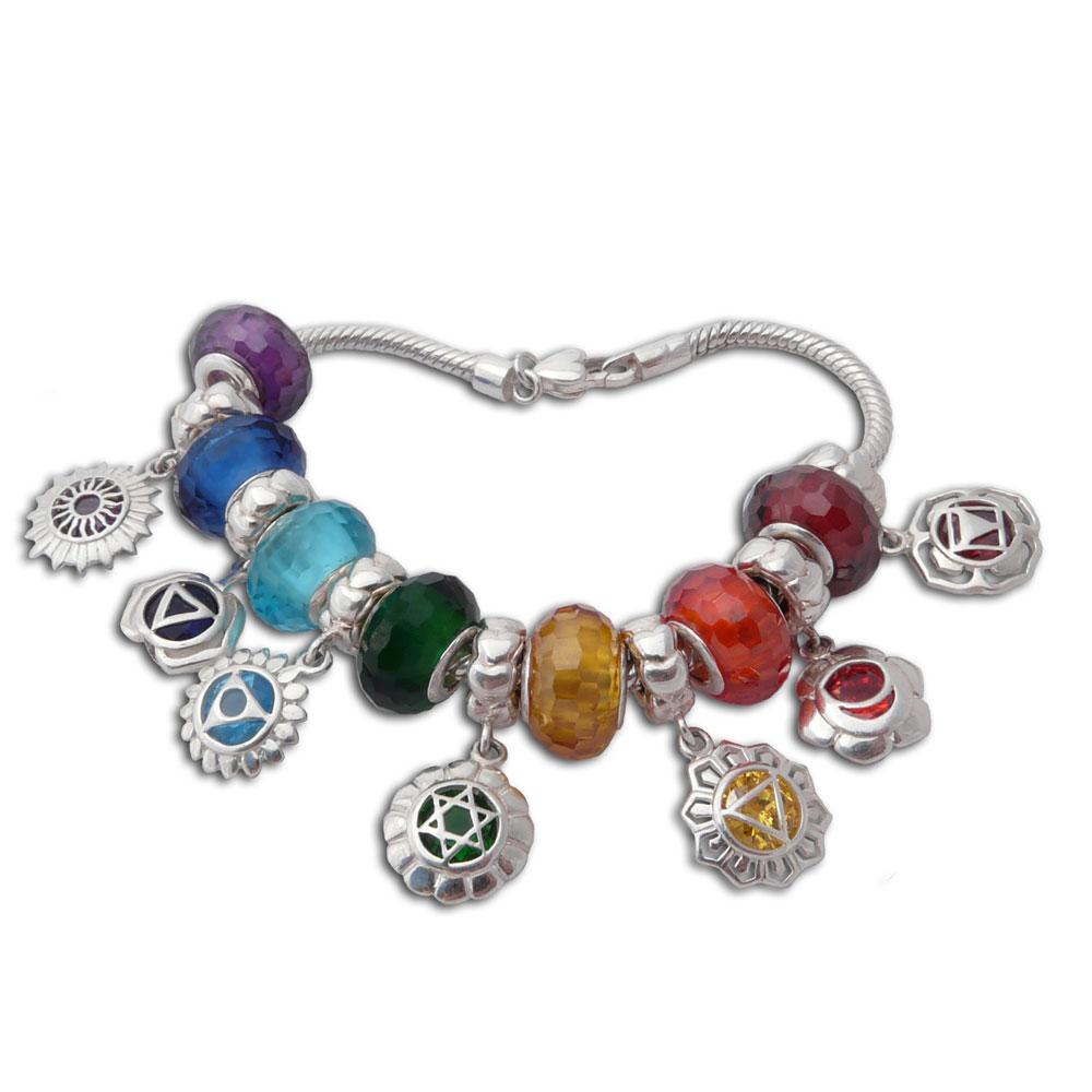Edelstahlk Che vibes chakra charm bead bracelet sterling silver charmas karma shanti