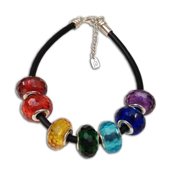 Faceted Chakra Bead Bracelet Adjustable Rubber and Sterling Silver