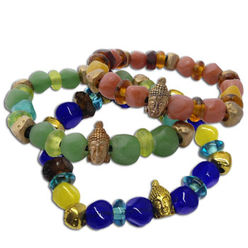 Buddha Mala Bracelet Recycled Glass and Brass
