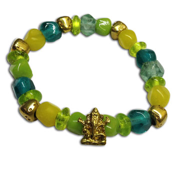 Ganesh Mala Bracelet Recycled Glass and Brass