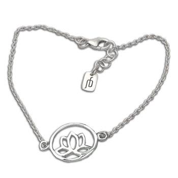 Lotus Bracelet Silver Adjustable