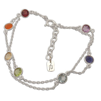 Well-being Chakra Armband Zilver en Half-edelstenen