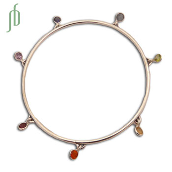 Well being 7 Chakra Bangle Bracelet Silver and Gemstones