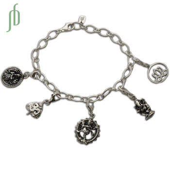 Hindu Bliss Good Karma Charms Bracelet Sterling Silver