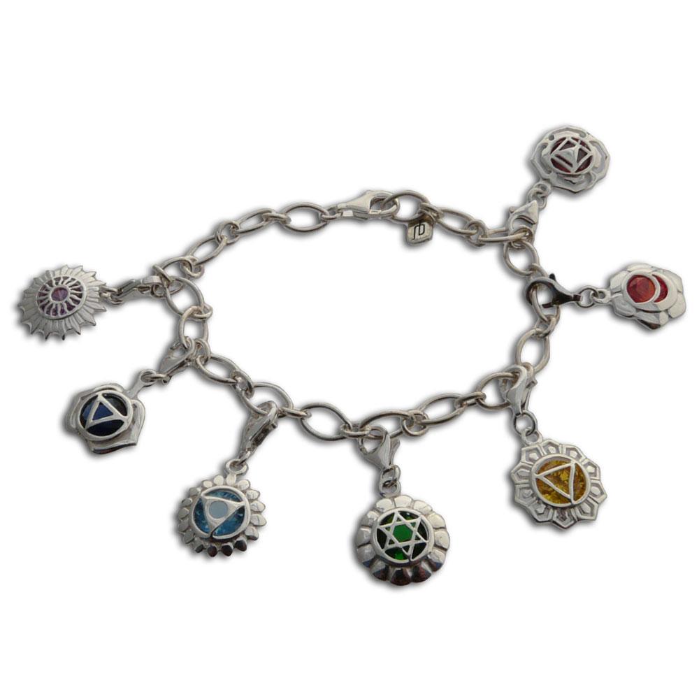 Relatively Seven Chakras Charm Bracelet Adjustable, charmas: good karma  OY58