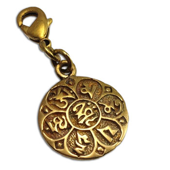 Om Mani Padme Hum Charm Recycled Brass