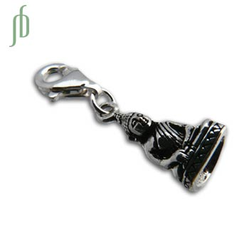 Charmas Buddha Statue Charm with Spring Clasp Silver