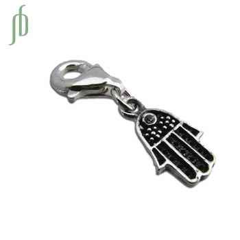 Protection Hamsa Charm Hand of Fatima Charm with Spring Clasp Silver