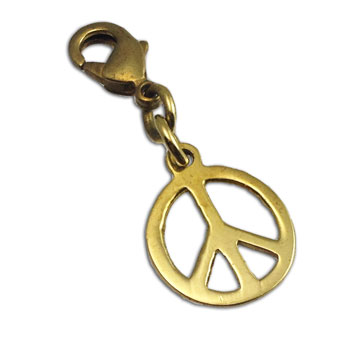 Peace Charm Pendant with Spring Clasp Gold tone Recycled Brass