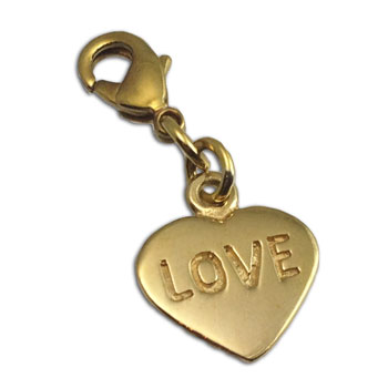 Love Heart Charm Gold-tone Recycled Brass