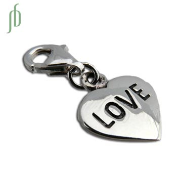 Love Heart Charm with Spring Clasp Silver