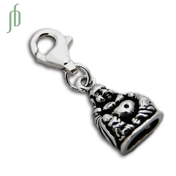 Happy Laughing Buddha Statue Charm with Spring Clasp Silver