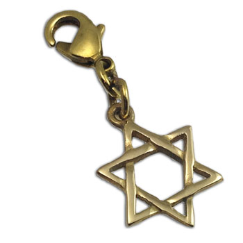Charmas Star of David Charm Gold tone Recycled Brass