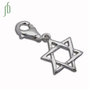 Charmas Star of David Charm with Spring Clasp Silver