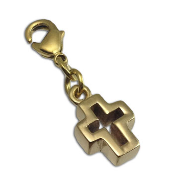 Cut-out Cross Charm with Spring Clasp Goldtone Recycled Brass