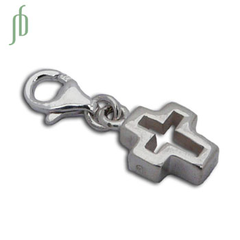 Charmas Cut out Cross Charm with Spring Clasp Silver