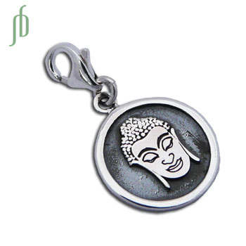 Charmas Buddha Portrait Charm with Spring Clasp Silver