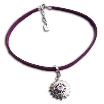 Crown Chakra Anklet Purple Adjustable Sterling Silver and Faux Suede