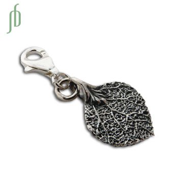 Bodhi Leaf Charm with spring clasp Silver