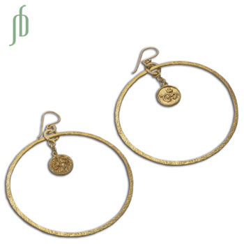 Ganesh Om Earrings Recycled Brass