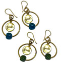 Shanti Earrings Circles Recycled Glass and Brass Teal Blue or Green