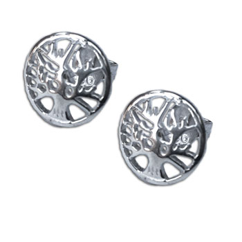 Tree of Life Stud Earrings Silver 1 cm