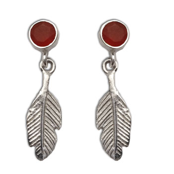 Feather Earrings Carnelian Studs Silver Passion