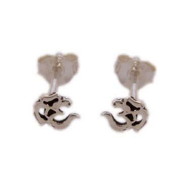 Om Studs Earrings Sterling Silver