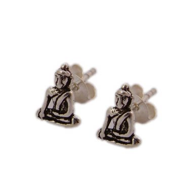 Buddha Studs Earrings Sterling Silver