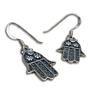 Hamsa Protection Earrings Sterling Silver