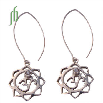 Om Lotus Earrings Sterling Silver