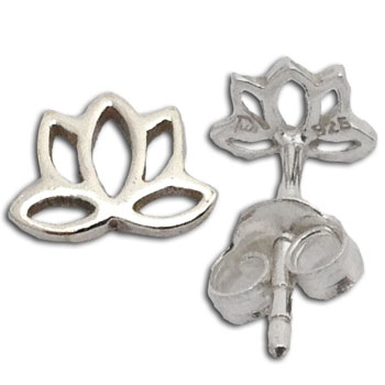 Lotus Stud Earrings Enlightenment  Sterling Silver