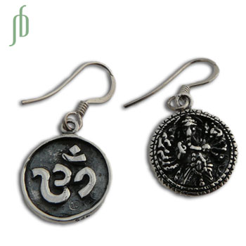 Double sided Om and Ganesh Earrings Sterling Silver