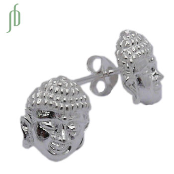 Buddha Face Stud Earrings Sterling Silver