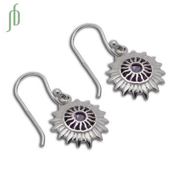 Good Vibes Crown Chakra Earrings Silver