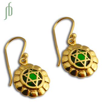 Good Vibes Heart Chakra Earrings Gold Vermeil