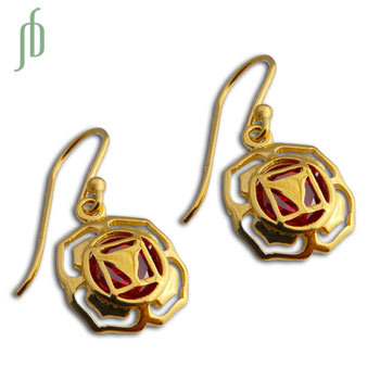 Good Vibes Root Chakra Earrings Gold Vermeil