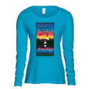 Feathered Pipe T-shirt Long Sleeve Women's 40th Anniversary Caribbean Blue