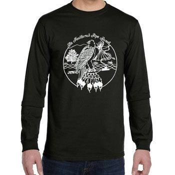 ORGANIC Feathered Pipe T-shirt Long Sleeve Unisex Retro Black