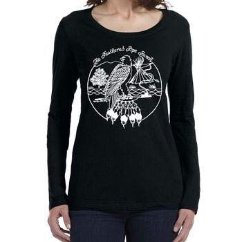 Feathered Pipe Ranch T-shirt Long Sleeve Women's Retro Black