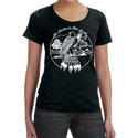 Feathered Pipe Ranch T-shirt Short Sleeve Women's Retro Black