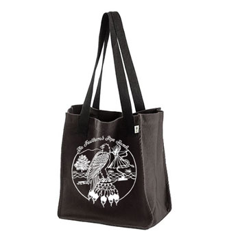 Feathered Pipe Ranch Tote ORGANIC Canvas Black Retro Design