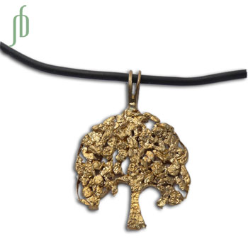 Bodhi Tree Rubber Necklace Recycled Brass 18 Inch