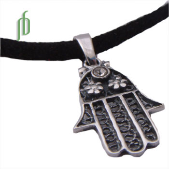 Hamsa Protection Necklace Silver with Tie to fit Black