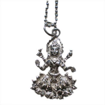 Prosperity Laxmi Necklace Silver with 16 inch ball chain